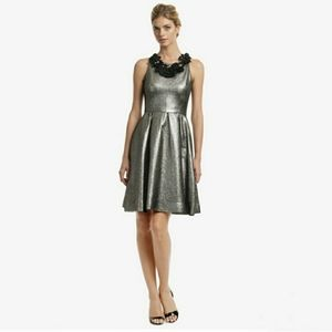 LELA ROSE Mars Metallic Gold Full Skirt Dress
